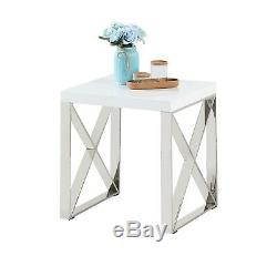 White High Gloss Top with Steel Frame Designer Lamp Table Side Table Living