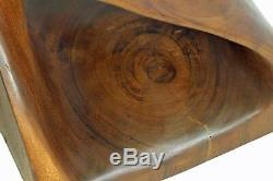 Wooden Infinity Twist small side table stool lamp/plant/speaker stand. BROWN