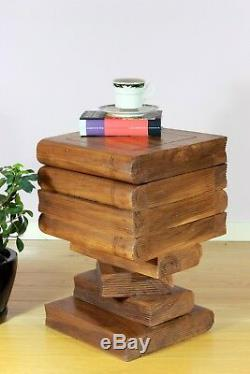 Wooden Open Top Stacked Book Side Table Lamp Plant Stand. 20x13x13 Brown
