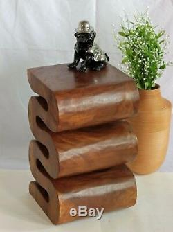 Wooden Snake Twist Small Side/End Table Lamp Plant Stand Hand Carved 20 Brown